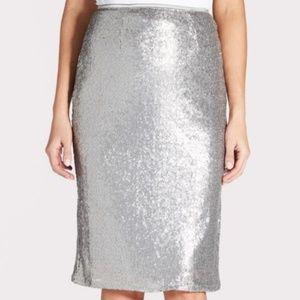 Evereve Silver Sequin Midi Skirt Size Medium